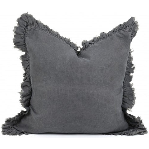 Linen Frill Charcoal Cushion