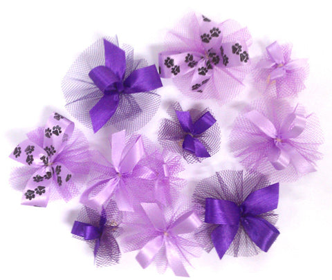 Single Color Combination Of Purple and Lavender Bows - Includes 7/16, 5/8, Petite & Paw Prints - 50 Bows