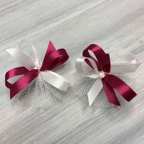 High School & College Color Bows - Burgundy and White - 50 Bows