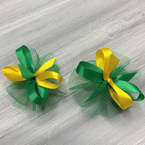 High School & College Color Bows - Green and Gold - 50 Bows