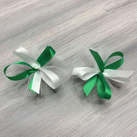High School & College Color Bows - Green and White - 50 Bows