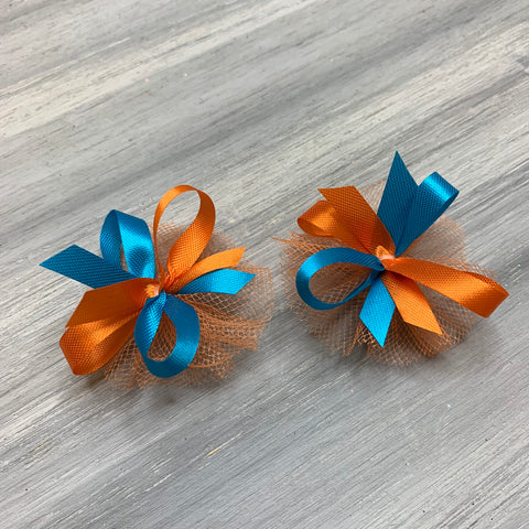 High School & College Color Bows - Teal and Orange - 50 Bows