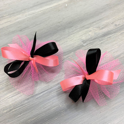 High School & College Color Bows - Pink and Black - 50 Bows