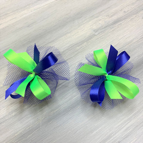 High School & College Color Bows - Royal Blue and Lime - 50 Bows