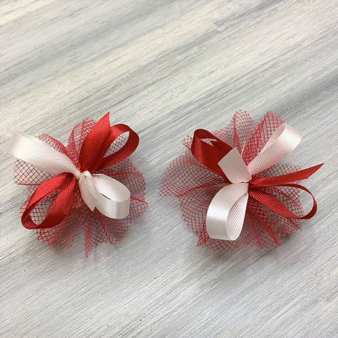 High School & College Color Bows - Red and White - 50 Bows