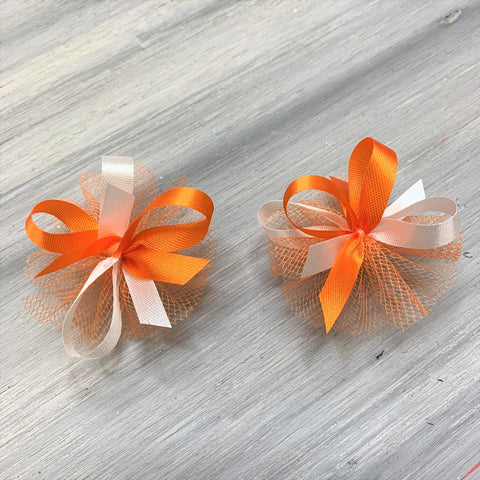 High School & College Color Bows - Orange and White - 50 Bows