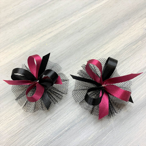 High School & College Color Bows - Black and Burgundy on Black - 50 Bows
