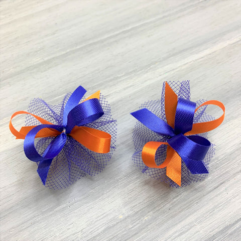 High School & College Color Bows - Orange and Blue - 50 Bows