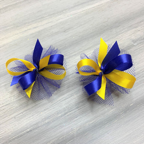 High School & College Color Bows - Blue and Gold - 50 Bows