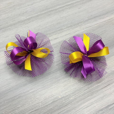 High School & College Color Bows - Purple and Gold - 50 Bows