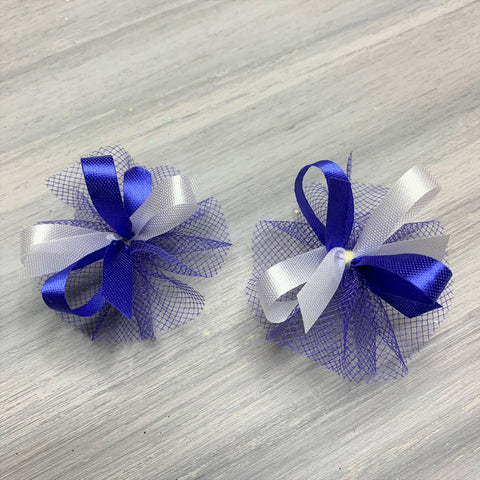 High School & College Color Bows - Blue and White Doubles - 50 Bows