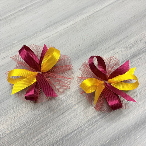 High School & College Color Bows - Burgundy and Gold - 50 Bows