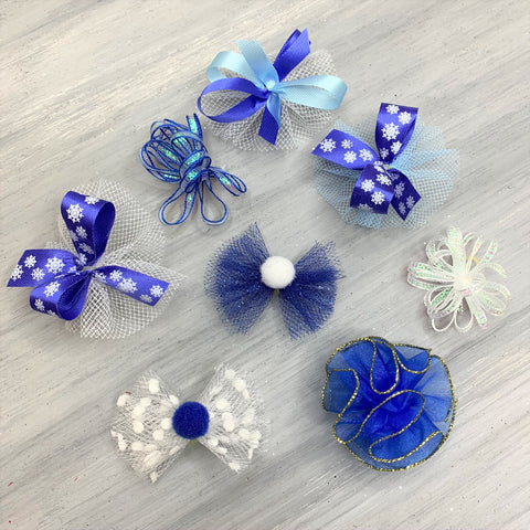 Winter Snow Collection - Pixie and Puff and Snowflakes - 24 Medium Bows