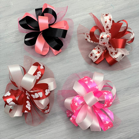 Valentine Collar Bows - 8 Large Grooming Bows