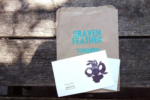 Graven Feather art gallery studio Diy workshop Andra Mares Letterpress cards