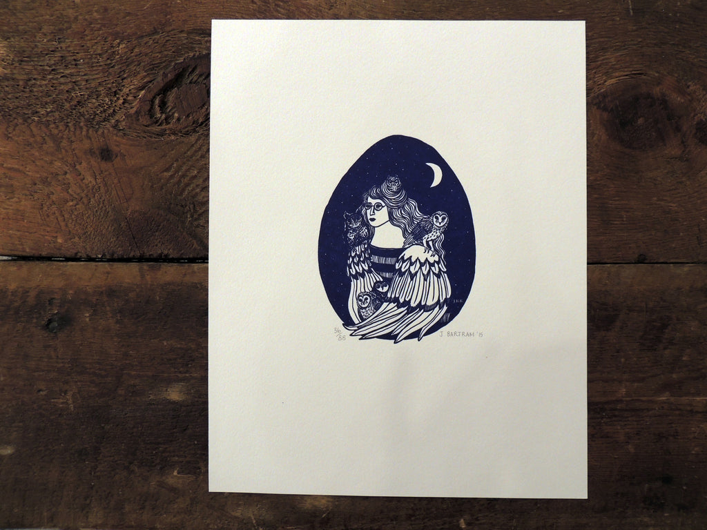 Jessica Bartram Letterpress Print - Graven Feather