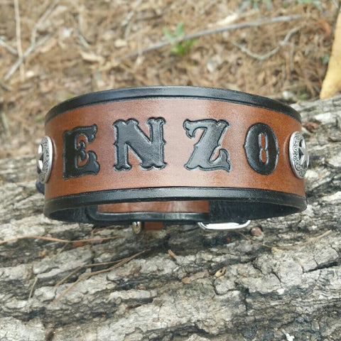 ENZO Custom Leather Dog Collar with Name