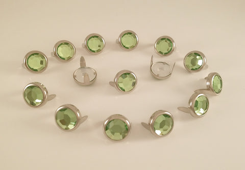 peridot green rhibestone with prongs to embellish purses, horse tack, dog collars, belts, shoes & more!