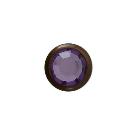 "5/16"" Light Purple Acrylic 2 Prong Rhinestones with Round Copper Setting"