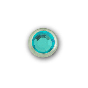 "11031-E16 5/16"" Aqua Acrylic 2 Prong Rhinestones with Round Nickel Setting, Rhinestones - Behind The Wire Shop"