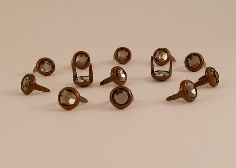 "11031-E2814 5/16"" Dark Grey Acrylic 2 Prong Rhinestones with Round Copper Setting, Rhinestones - Behind The Wire Shop"