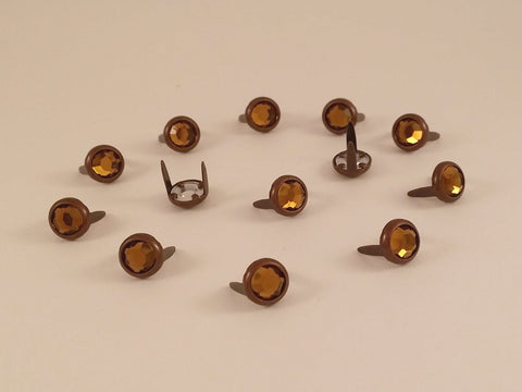 "11031-E2823 5/16"" Root Beer Acrylic 2 Prong Rhinestones with Round Copper Setting, Rhinestones - Behind The Wire Shop"
