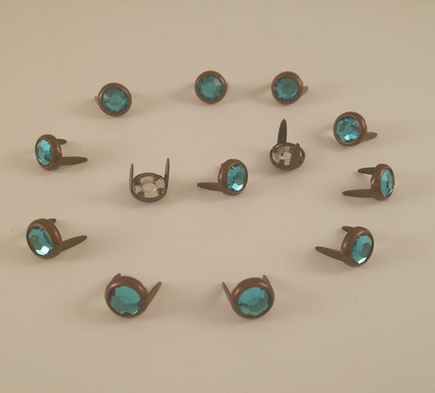 "11031-E286 5/16"" Aqua Acrylic 2 Prong Rhinestones with Round Copper Setting, Rhinestones - Behind The Wire Shop"