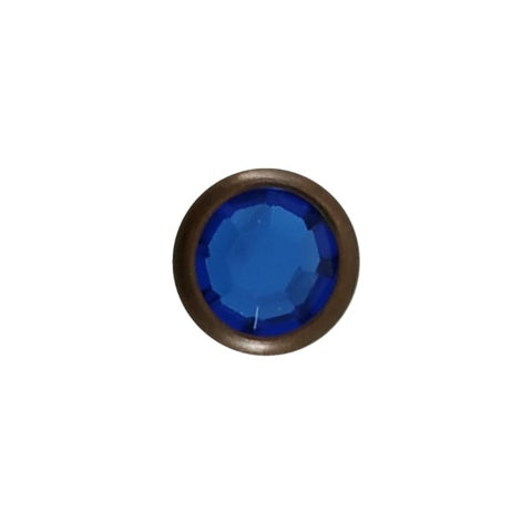 "11031-E282 5/16"" Blue Acrylic 2 Prong Rhinestones with Round Copper Setting, Rhinestones - Behind The Wire Shop"