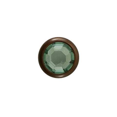 "11031-E2812 5/16"" Sage Green Acrylic 2 Prong Rhinestones with Round Copper Setting, Rhinestones - Behind The Wire Shop"