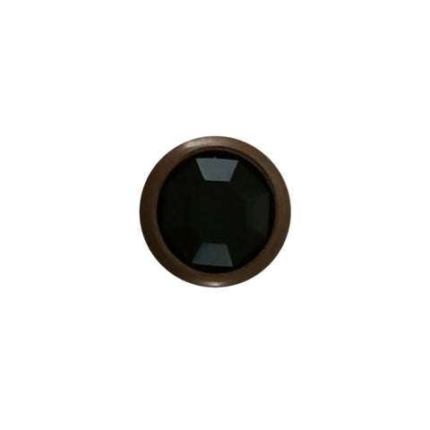 "11031-E2829 5/16"" Black Acrylic 2 Prong Rhinestones with Round Copper Setting, Rhinestones - Behind The Wire Shop"