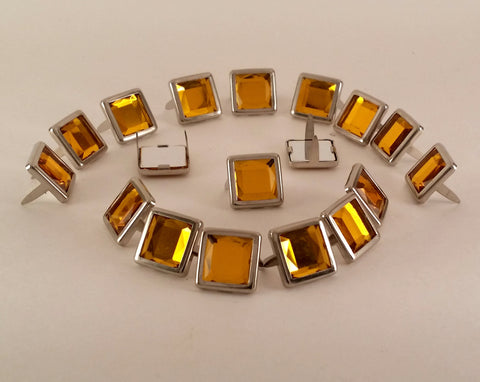"11061-C128 1/2"" Amber Acrylic 2 Prong Rhinestones with Square Nickel Setting, Rhinestones - Behind The Wire Shop"