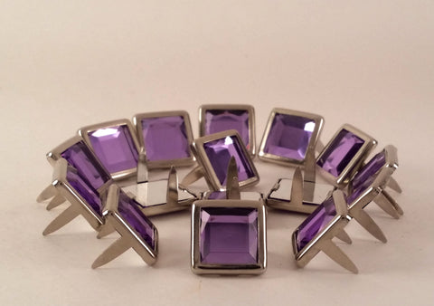 "11061-C19 1/2"" Light Purple Acrylic 2 Prong Rhinestones with Square Nickel Setting, Rhinestones - Behind The Wire Shop"