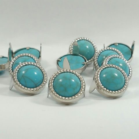 "7531-M01 1/2"" Rope Edge Turquoise Gemstones with Round 2 Prong Nickel Setting"