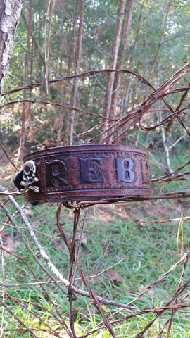 The Rebel - Camo Leather Dog Collar with Skulls and Bones, Dog Collars - Behind The Wire Shop
