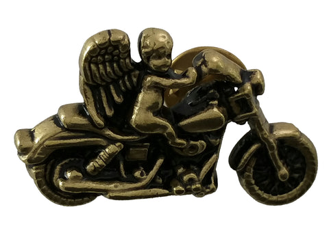 "5411-PN 1 1/2"" Antique Gold Biker Guardian Angel Biker Pin, Pins - Behind The Wire Shop"