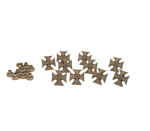 "2301 1/4"" Mini Antique Nickel Maltese Cross Rivet Concho"