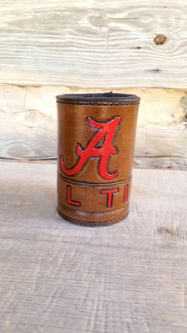 BUILD YOUR OWN - Hand Crafted Custom Leather Koozie with Your College, Sports Teams, Logo