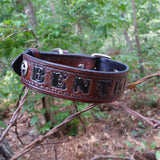 BENTLEY - Texas Ranger Star Leather Dog Collar with Your Choice of Basket Weave
