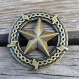 "2943WS-L12 1"" Antique Brass Barbed Wire Texas Star Decorative Wood Screw, Decorative Metal Pieces - Behind The Wire Shop"