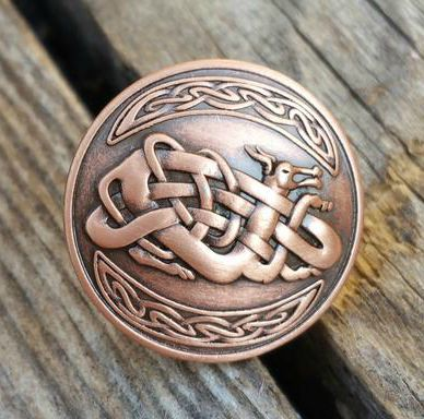 "2125WS-E28 1"" Celtic Chinese Dragon Antique Copper Decorative Wood Screw, Decorative Metal Pieces - Behind The Wire Shop"