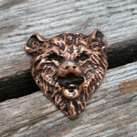 "2126WS-L28 1 1/8"" Antique Copper Bear Decorative Wood Screw, Decorative Metal Pieces - Behind The Wire Shop"