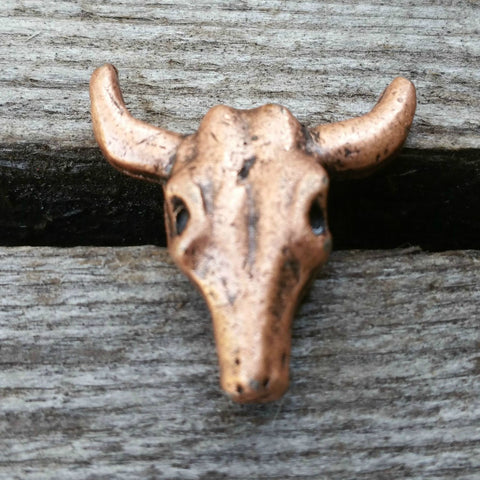 "2127WS-L28 1 1/8"" Antique Copper Steer Head Skull Decorative Wood Screw, Decorative Metal Pieces - Behind The Wire Shop"