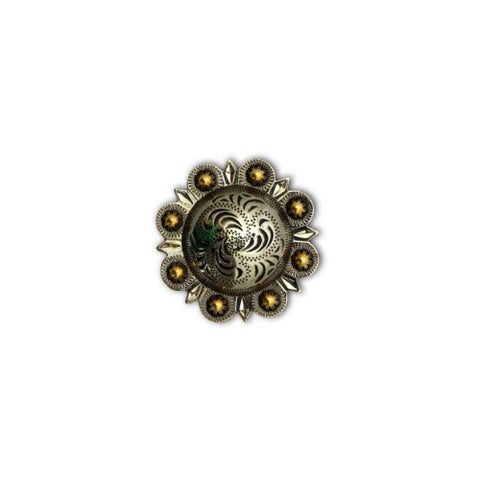 "2303SB-C41 1/2"" Silver & Gold Decorative Mini Traditional Berry Conchos, Conchos - Behind The Wire Shop"