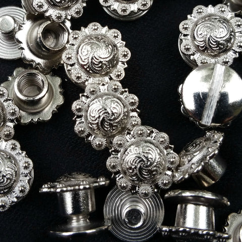 "2303SB-C01 1/2"" Shiny Silver Decorative Mini Traditional Berry Conchos, Conchos - Behind The Wire Shop"