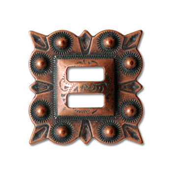 Copper patina traditional berry slotted conchos