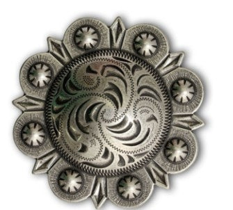 2303SB-W06 4 1/4 Antique Nickel Extra Large Berry Style Screw Back Concho, Conchos - Behind The Wire Shop