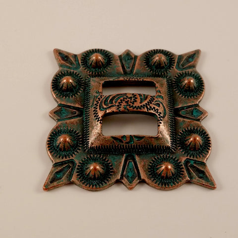 "23610-O40 1 1/2"" Square Copper Patina Berry Style Slotted Concho, Conchos - Behind The Wire Shop"
