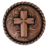 "2523SC-N28 1 1/4"" Antique Copper Rope Edge Cross Saddle Concho, Conchos - Behind The Wire Shop"