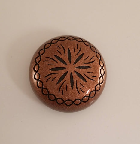 "26310-L28 1"" Antique Copper Sunburst Style Screw Back Dome Concho, Conchos - Behind The Wire Shop"