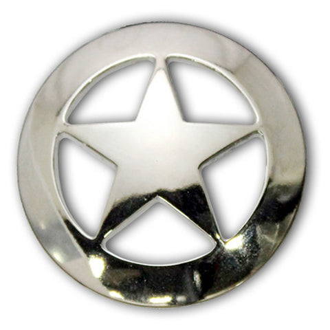 "2903SB-M01 1 1/2"" Shiny Silver Texas Ranger Star Screw Back Concho, Conchos - Behind The Wire Shop"